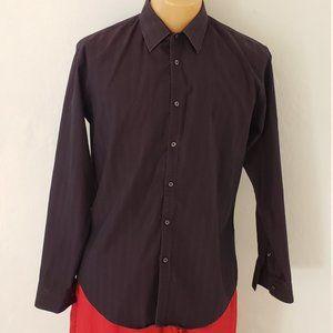 Zara Man Button-up Dark Purple Shirt XL